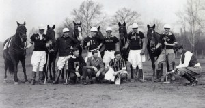 Polo team with horses, 1942 (coach Major Charles Horn kneeling on right)